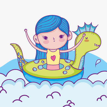 cute girl in the dinosaur float and swimsuit vector illustration