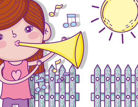 cute girl play trumpet with sun vector illustration