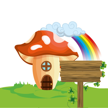 raw mushroom house cartoon vector illustration graphic design