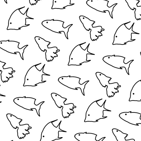 line tropical fishes nature animals background vector illustration