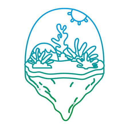 degraded line mountain and exotic seaweed in the float island vector illustration