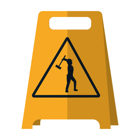 plastic caution emblem and laborer with mallet vector illustration  イラスト・ベクター素材