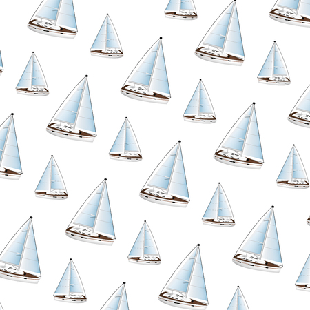 wood sailboaat sea transport background vector illustration