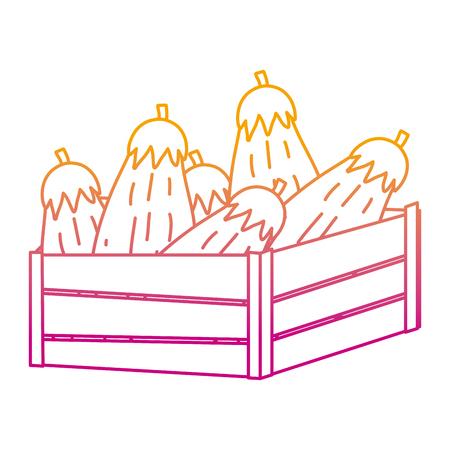degraded line healthy eggplants vegetables inside wood basket vector illustration 矢量图像