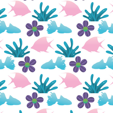 angel fish with seaweed and flower background vector illustration Illustration