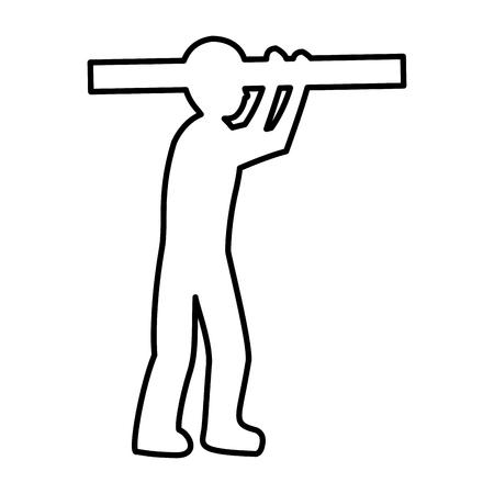 line pictogram laborer with construction equipment maintenance vector illustration