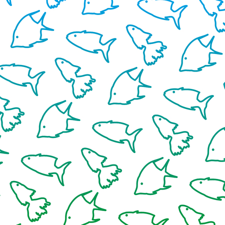 degraded line tropical fishes nature animals background vector illustration