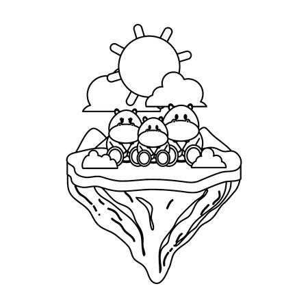line family hippopotamus animal in float island vector illustration