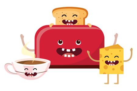 Bread toaster cartoon