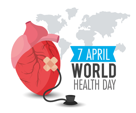 Heart organ with stethoscope to world health day