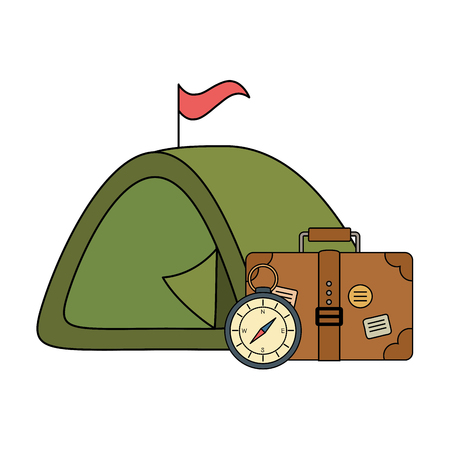 suitcase travel with tent and compass guide