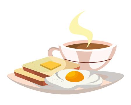 Delicious tasty breakfast cartoon Vector Illustration