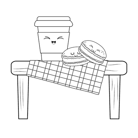 Set of bakery food in picnic table