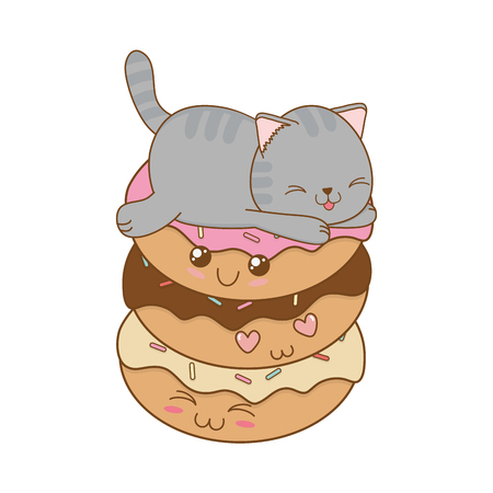 Cute little cat with donuts  character
