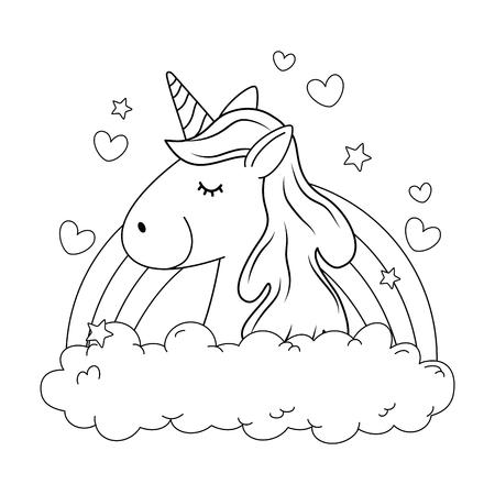 Cute fairytale unicorn in clouds with rainbow Ilustração