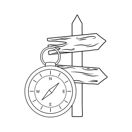 Compass guide with guide wooden arrow  イラスト・ベクター素材