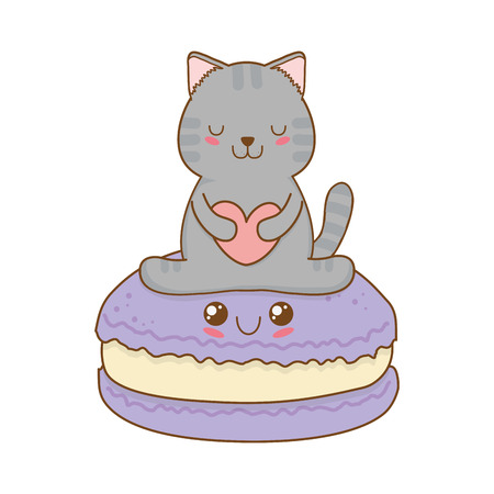 Cute little cat with cookies  character
