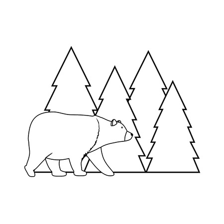 Pines trees forest scene with bear grizzly Illustration