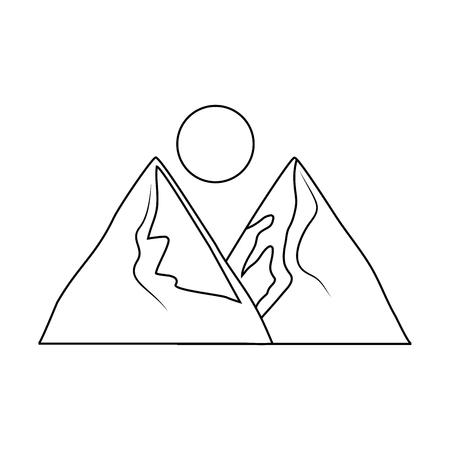Mountains landscape scene icon