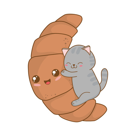Cute little cat with croissant  character