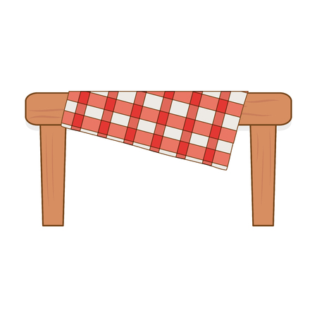 Table wooden with picnic table clothes