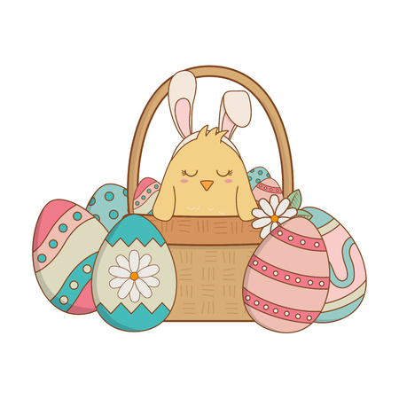little chick with ears rabbit in basket and eggs painted vector illustration design Иллюстрация