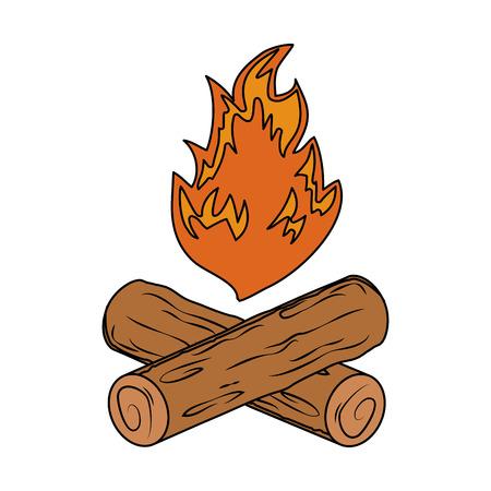 falò campeggio isolato icona illustrazione vettoriale design