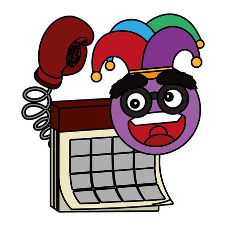 april fools day calendar cartoon vector illustration graphic design