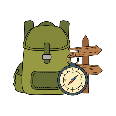 compass guide with travelbag and arrow guide