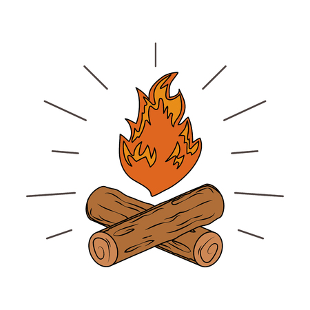 campfire camping isolated icon