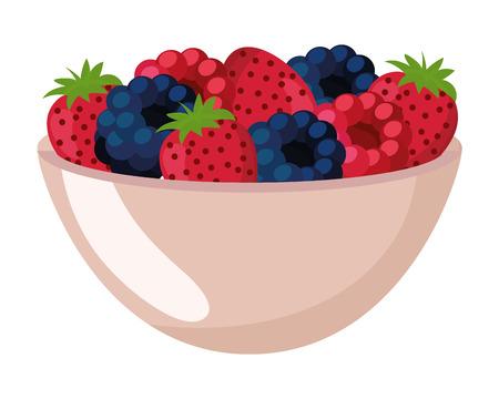 delicious tasty food fuits bowl cartoon vector illustration graphic design