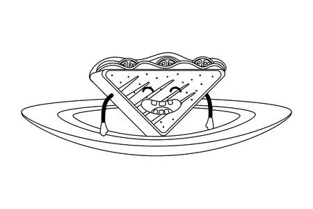 delicious tasty kawaii sandwich dish cartoon vector illustration graphic design