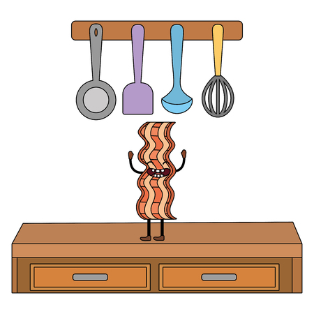 delicious tasty kawaii bacon cartoon