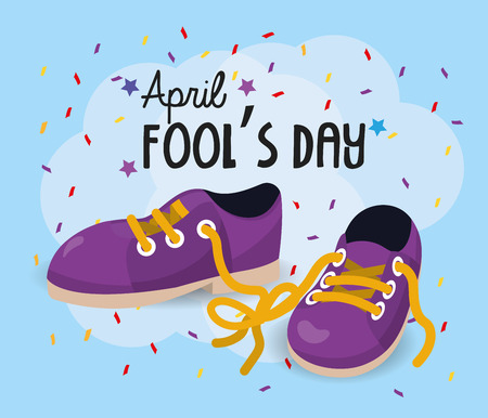 sneakers with moored laces to fools day Vector Illustratie