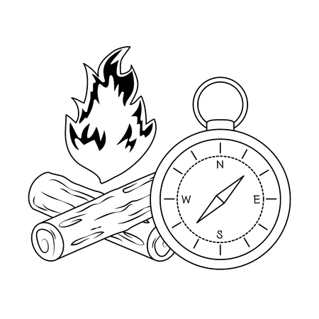 compass guide with campfire