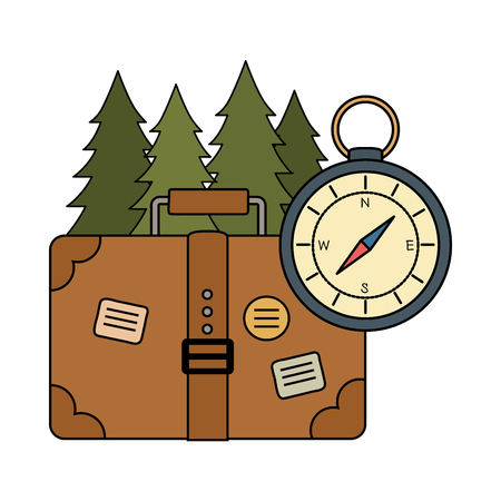 compass guide with pines forest and suitcase