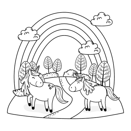 cute fairytale unicorns with rainbow in the field Vectores