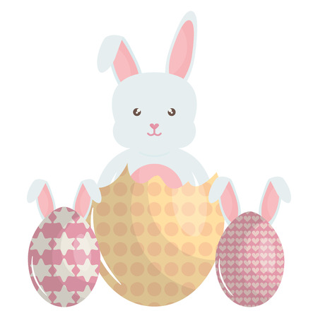cute rabbit with eggs painted Illustration
