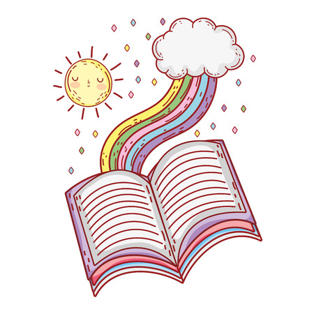 text book with rainbow day celebration
