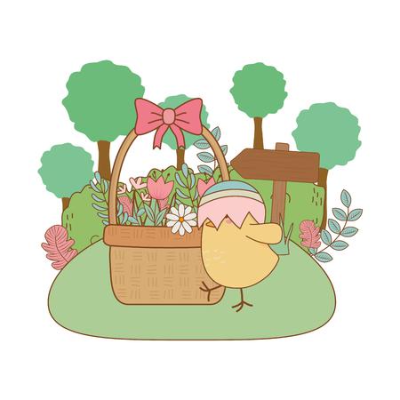 little chick with egg broken in the garden easter character vector illustration design
