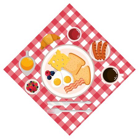 delicious tasty breakfast cartoon