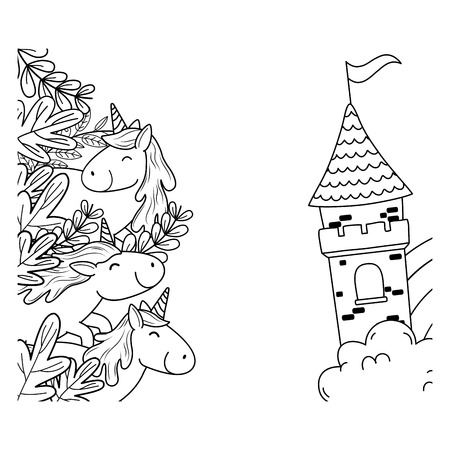 cute fairytale unicorns with floral decoration and castle Foto de archivo - 119325750