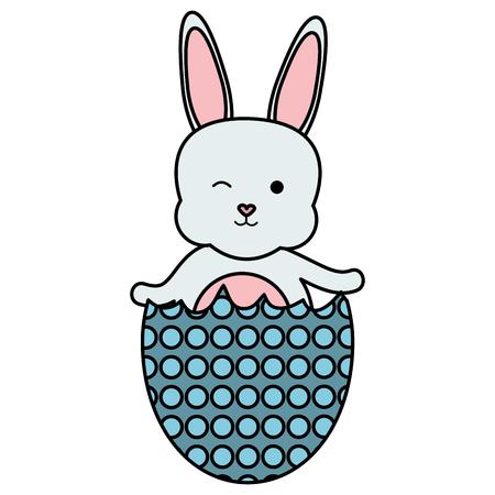 cute rabbit with broken easter egg painted Stock Illustratie