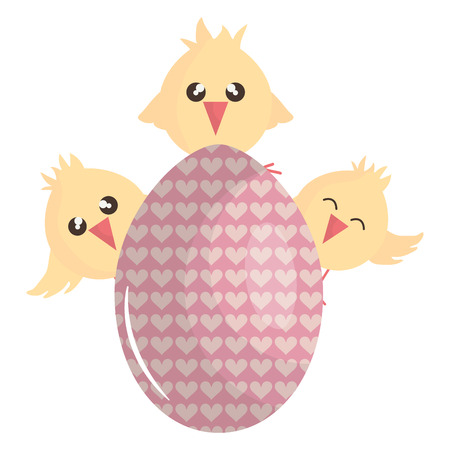 little chicks with egg painted easter characters