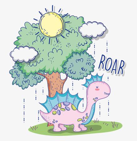 corythosaurus wildlife animal with tree and sun 矢量图像