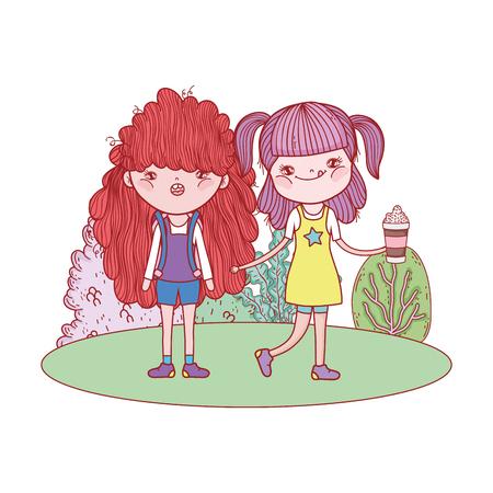 little girls in the landscape
