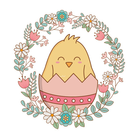 little chick with egg broken and wreath flowers vector illustration design