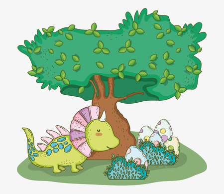 cute styracosaurus with dino eggs and tree vector illustration Illustration
