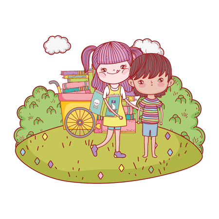 happy little kids with cart books in the landscape Vetores