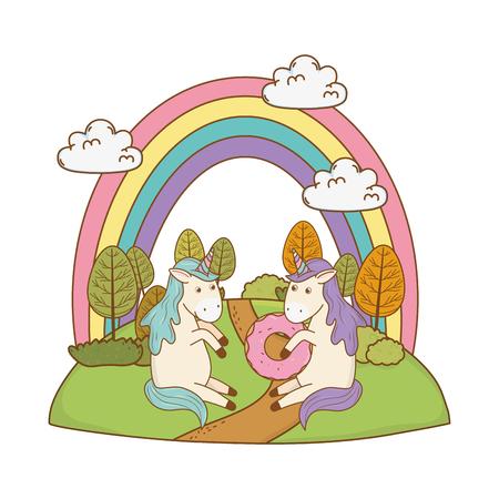 cute fairytale unicorns with rainbow in the field Foto de archivo - 119353052